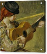Girl With A Guitar Acrylic Print by Pierre Auguste Renoir