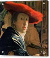 Girl With A Red Hat Acrylic Print by Jan Vermeer