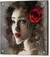 Girl With A Red Rose.. Acrylic Print