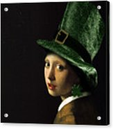 Girl With A Shamrock Earring Acrylic Print