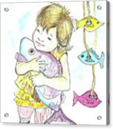 Girl With A Toy-fish Acrylic Print