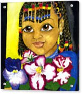 Girl With African Violet Acrylic Print