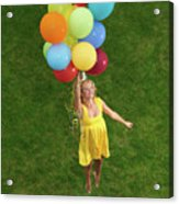 Girl With Air Balloons Acrylic Print
