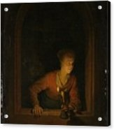 Girl With An Oil Lamp At A Window Acrylic Print