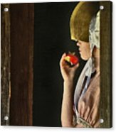 Girl With Apple Acrylic Print