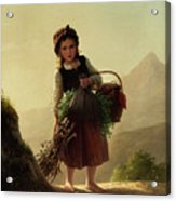 Girl With Basket Acrylic Print