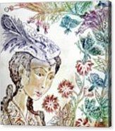 Girl With Butterflies Acrylic Print