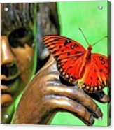 Girl With Butterfly Acrylic Print