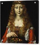 Girl With Cherries  Acrylic Print