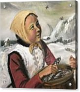 Girl With Fish Basket Acrylic Print
