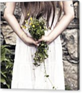 Girl With Flowers Acrylic Print