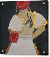 Lady With Flowers Acrylic Print