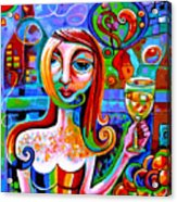 Girl With Glass Of Chardonnay Acrylic Print