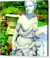 Girl With Grapes In Garden Acrylic Print