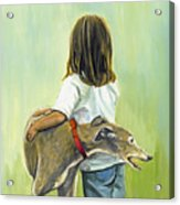 Girl With Greyhound Acrylic Print