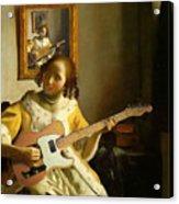 Girl With Guitar Acrylic Print