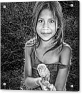 Girl With Her Pet Acrylic Print