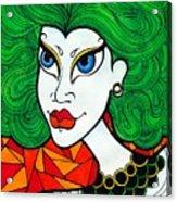 Girl With Lush Green Hair. Acrylic Print