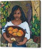 Girl With Mangoes Acrylic Print