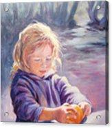 Girl With Orange Acrylic Print