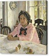 Girl With Peaches Acrylic Print by Valentin Aleksandrovich Serov