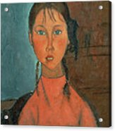 Girl With Pigtails Acrylic Print by Amedeo Modigliani