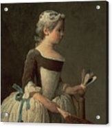 Girl With Racket And Shuttlecock Acrylic Print by Jean-Baptiste Simeon Chardin