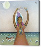 Girl With Sea Acrylic Print