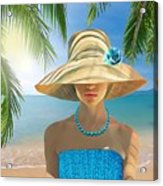 Girl With Summer Hat Acrylic Print