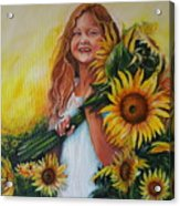 Girl With Sunflowers Acrylic Print