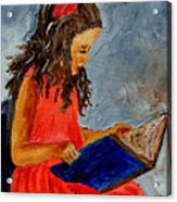 Girl With The Book Acrylic Print
