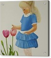 Girl With Tulips Acrylic Print