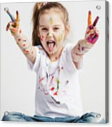 Girl With Victory Sign Sticking Out Her Tounge Acrylic Print