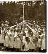 Girls  Doing The Maypole Dance Pacific Grove Circa 1890 Acrylic Print