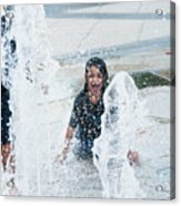 Girls Playing In Fountain  Acrylic Print