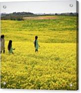 Girls Walking In The Field Acrylic Print