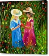 Girls With Flowers Acrylic Print