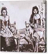 Girls With Pronghorn Fawns Historical Vignette From River Mural Acrylic Print