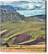 Glacier Mountains Meadows Horses Acrylic Print