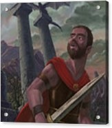 Gladiator Warrior With Monster On Pillar Acrylic Print