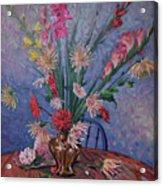Gladiolas And Dahlias Acrylic Print