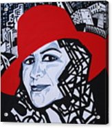 Glafira Rosales In The Red Hat Acrylic Print
