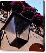 Glass Light Housing With Red Flower Architecture In Saint August Acrylic Print
