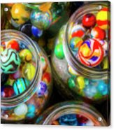 Glass Marbles In Containers Acrylic Print