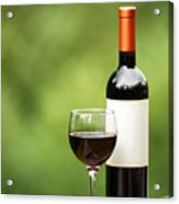 Glass Of Red Wine Outdoors Ready To Enjoy Acrylic Print