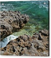 Glass Wave Blowing Rocks Preserve Jupiter Island Florida Acrylic Print