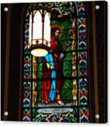 Glass Window Of Saint Philip In The Basilica In Santa Fe  Acrylic Print