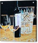 Glass Wood And Light And Wine Acrylic Print
