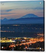Glenn L Jackson Bridge And Mount Saint Helens After Sunset Acrylic Print