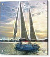 Glimmering Sailboat Acrylic Print